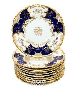 10 Coalport England Hand Painted Porcelain Dessert Plates, Cobalt Blue c. 1900