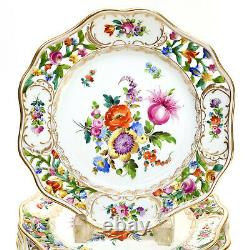 12 Dresden Germany Hand Painted Porcelain Reticulated Dessert Plates, c1930