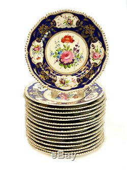16 Bloor Derby England Porcelain Hand Painted Dinner Plates, circa 1840. Florals
