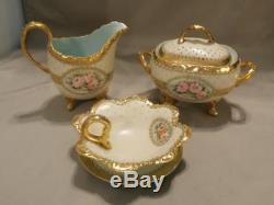 17 Piece Limoges Porcelain Hand Painted Gold Encrusted Moriage Pink Roses T&V