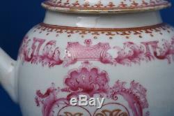 1750 Chinese MARRIAGE ARMORIAL MONOGRAM TEAPOT QIANLONG QING export vase teapot
