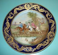 1753 Sevres Vincennes gilt raised gold cabinet plate signed' Dumas' by artist