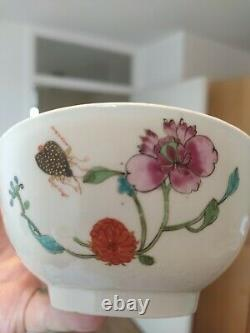 17th-20th Century Antique Chinese porcelain Floral pastel bowl Hand Painted