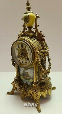 1800's WATERBURY French Victorian Style Mantel Clock with Hand Painted Porcelain