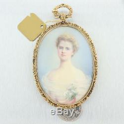 1899s Antique Victorian 14k Gold Hand Painted Porcelain Necklace Pendant B9