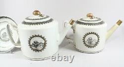 18th Century Chinese Export European Gilt Grisaille Porcelain Tea Pots & Saucer