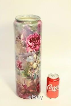 1912 Antique Bellek Willets Porcelain 16 Hand Painted Rose Vase Signed Frazier