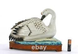 1920's Chinese Famille Rose Robin's Egg Porcelain Crane Figure Wood Stand AS IS