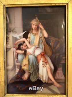 19th C KPM Hand Painted Porcelain Signed Scenic Plaque of Two Woman with a Dove