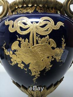 19th C. SEVRES Porcelain Hand Painted Urn, Cobalt & Gold, Ormolu Mount