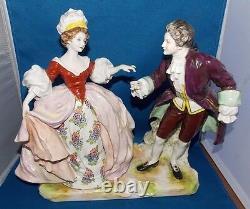 19th C. VOLKSTEDT DRESDEN GERMAN PORCELAIN DANCING COUPLE, HAND PAINTED MASSIVE