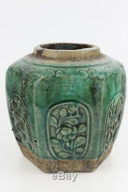 19th Century Chinese Porcelain Hand Painted Green Glaze Ginger Hexagonal Jar