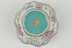 19th Chinese Tongzhi Mark Period Fencai Porcelain Bowl Auspicious Symbols