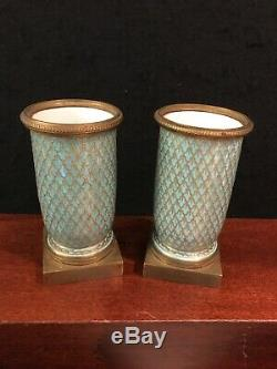 2 ANTIQUE 19C FRENCH SEVRES HANDPAINTED PORCELAIN AND BRONZE FLOWER VASES-o121