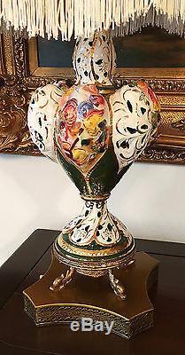 2 Italian Capodimonte Table Lamps Capo di Monte Gold Gilt Hand Painted Porcelain
