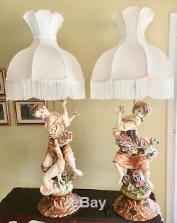 2 Large Vintage Rococo Hand-Painted Capodimonte Figural Porcelain Lamps=-Rare