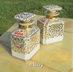 2 Porcelain Set Flacons a Paris Chinoiserie Gilded Flowers gold handpainted