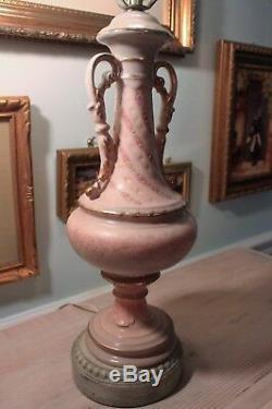 2 Vintage Hand Painted Porcelain Rose Floral Urn Table Lamp, Gold Trim