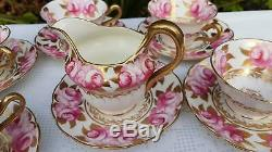 20 x Antique English porcelain hand painted Pink Roses & Gold