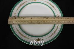 25pc 1860's Antique Hand Painted French Porcelain Green GILT Dessert/Tea Set