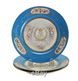 3 Sevres Hand Painted Porcelain Chateau Des Tuileries Cabin Plates, Signed