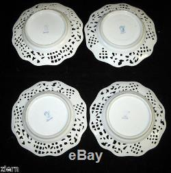 4 Antique Dresden Pocelain Hand Painted Reticulated Plates (Carl Thieme) 19th c