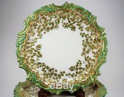 4 T&V Limoges Hand Painted Porcelain Cabinet Plates Green Gold Foliage Pretty