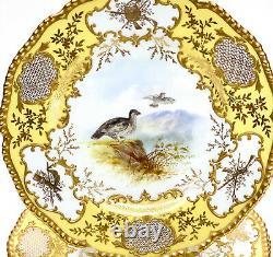 5 Coalport England Porcelain Hand Painted Dessert Plates, circa 1900. Birds