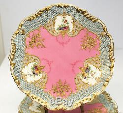 6 Finest Coalport England Hand Painted & Enamel Porcelain Cabinet Plates c. 1890