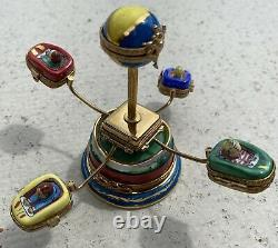 6 Peint Main LIMOGES Boxes Swing Chair Carnival Ride Moves w4 Separate Cars