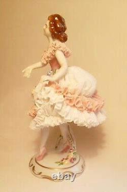 7.5 Antique German Porcelain Volkstedt Meissen Dresden Lace Ballerina Mint