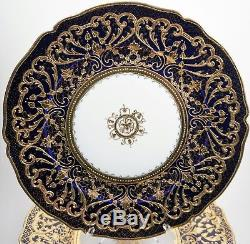8 Antique Hand Painted Nippon Porcelain Cabinet Plates Heavy Gold On Cobalt