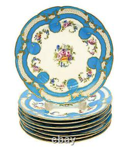 8 Sevres France Porcelain Hand Painted Fruit & Floral Scalloped Plates, 18th C