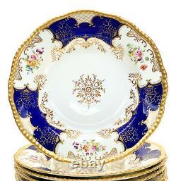 9 Coalport England Hand Painted Porcelain Rimmed Soup Bowls Plates, c. 1900