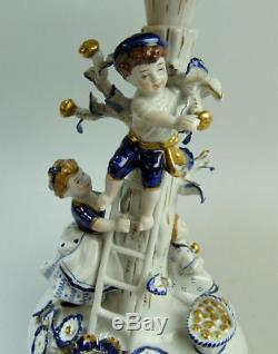 A Fine Antique Dresden Porcelain Figural Hand Painted Centre Piece C. 1950