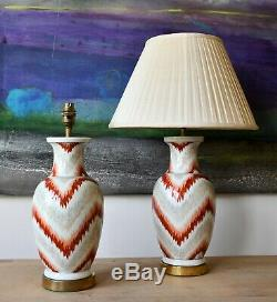 A Pair Mid 20th C Hand Painted Flame Stitch Chinese Vase Brass Table Hall Lamps