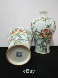 A Pair Of Antique Chinese Famille Rose Porcelain Peaches Vases QianLong Marks