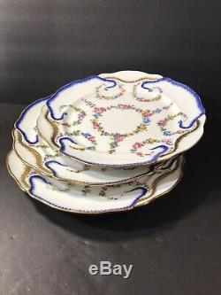 A Set Of 3 Antique Sevres Porcelain Plate/ Hand Painted/ France C. 1890/ Floral