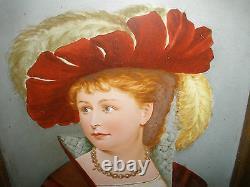 ANTIQUE 19TH 1800`s PORCELAIN HAND PAINTED PLAQUE WOMAN PORTRAIT WITH LABEL