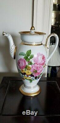 ANTIQUE 19thc MEISSEN HAND PAINTED porcelain FLORAL TEAPOT WITH DRAGON HANDLE