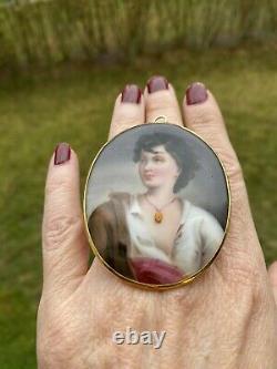 ANTIQUE ART NOUVEAU HAND PAINTED PORTRAIT PORCELAIN 14K GOLD PENDANT 2.5 24gr
