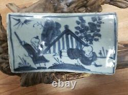 ANTIQUE CHINESE Hand Painted Blue&White PORCELAIN PILLOW