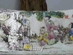 ANTIQUE CHINESE Hand Painted Famille Rose PORCELAIN PILLOW