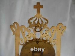 ANTIQUE FRENCH GILT BRASS HAND PAINTED PORCELAIN RELIQUARY, ALTAR, LATE 19th