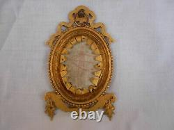ANTIQUE FRENCH HAND PAINTED PORCELAIN PLAQUE WITH GILT BRONZE FRAME, LATE 19th