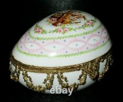 ANTIQUE SEVRES FRENCH PORCELAIN HAND PAINTED EGG TRINKET BOX circa 1768