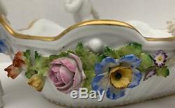 ANTIQUE Von Schierholz German Hand Painted Porcelain & 4 Cherubs Center Bowl
