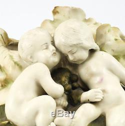 Amphora Austrian Art Nouveau Hand Painted Porcelain Vase Raised Cherubs Floral