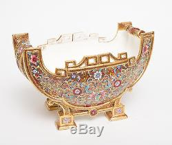 An Antique Coalport Porcelain Sleigh Shape Jardiniere Vase Hand Painted c1865