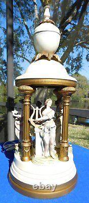 Ancient Roman/Greek Porcelain Figurines Between Columns in 42 Metal Table Lamp